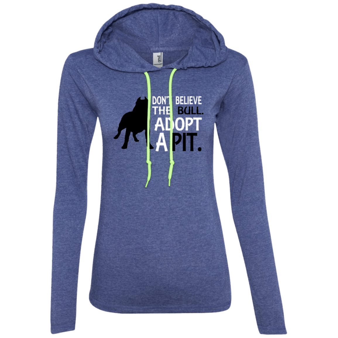 Don't Believe the Bull - 887L Anvil Ladies' LS T-Shirt Hoodie Heather Blue/Neon Yellow Small - Little Pit Shop