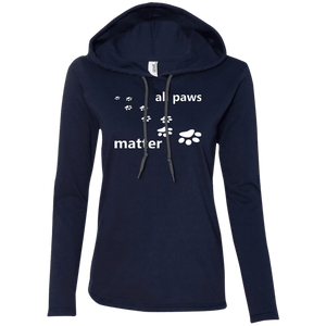 All Paws Matter - 887L Anvil Ladies' LS T-Shirt Hoodie by Little Pit Shop Navy/Dark Grey Small - Little Pit Shop