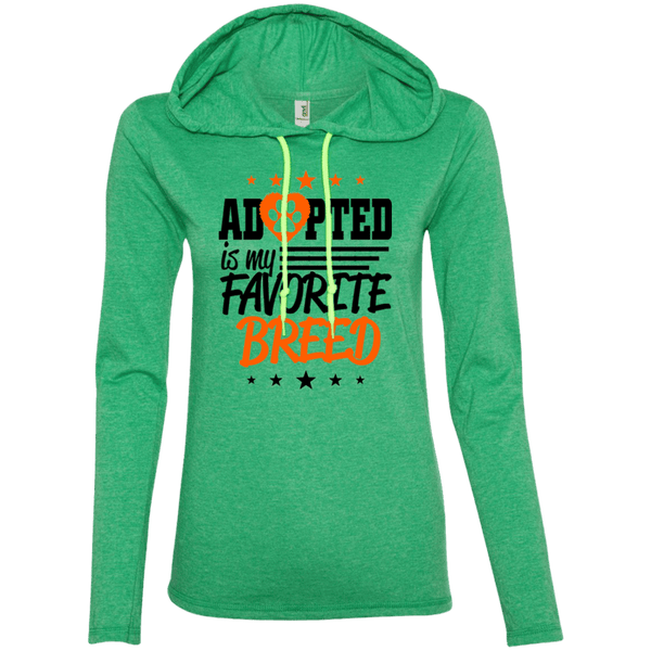 Adopted is My Favorite Breed - 887L Anvil Ladies' LS T-Shirt Hoodie Heather Green/Neon Yellow Small - Little Pit Shop