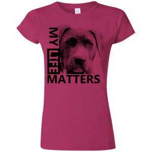My Life Matters - G640L Gildan Softstyle Ladies' T-Shirt Light Antique Heliconia Small - Little Pit Shop