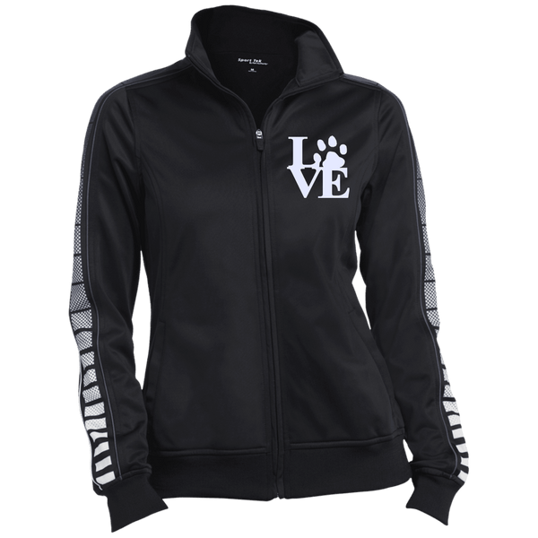 Love Paw Wht Embroidered - LST93 Sport-Tek Ladies' Dot Print Warm Up Jacket Black/Iron Grey X-Small - Little Pit Shop