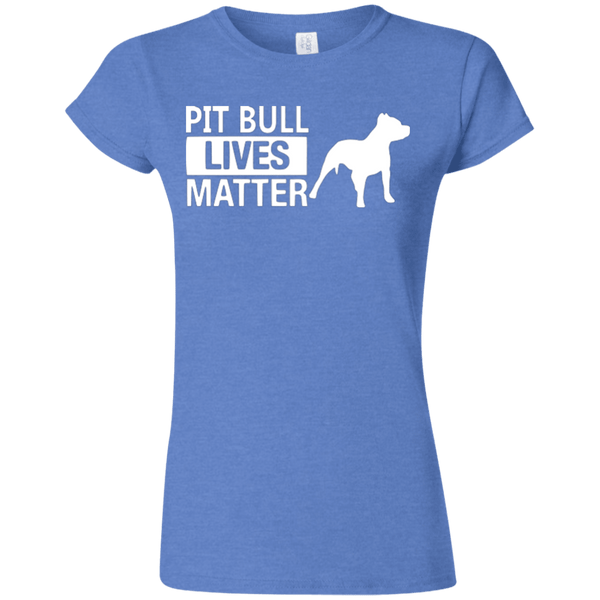Pit Bull Lives Matter - G640L Gildan Softstyle Ladies' T-Shirt Dark Heather Royal Small - Little Pit Shop