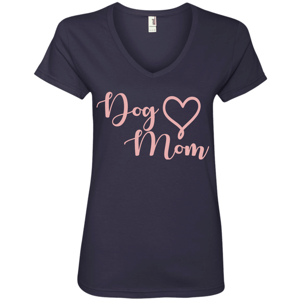 Dog Mom Pink Text - 88VL Anvil Ladies' V-Neck T-Shirt Navy Small - Little Pit Shop