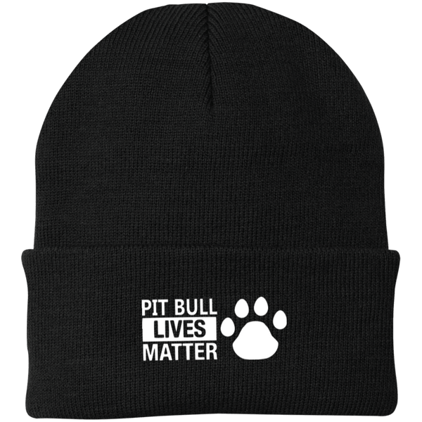 Pit Bull Lives Matter - CP90 Port Authority Knit Cap by Little Pit Shop Black One Size - Little Pit Shop