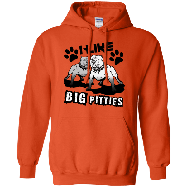 I Like Big Pitties Drk - G185 Gildan Pullover Hoodie 8 oz. Orange Small - Little Pit Shop