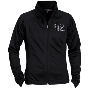 Dog Mom Wht Prnt - LST90 Sport-Tek Ladies' Raglan Sleeve Warmup Jacket, Jackets | Pit Bull T Shirts, Hoodies and more | Little Pit Shop