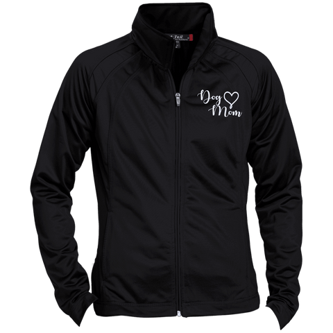 Dog Mom Wht Prnt - LST90 Sport-Tek Ladies' Raglan Sleeve Warmup Jacket Black/Black X-Small - Little Pit Shop