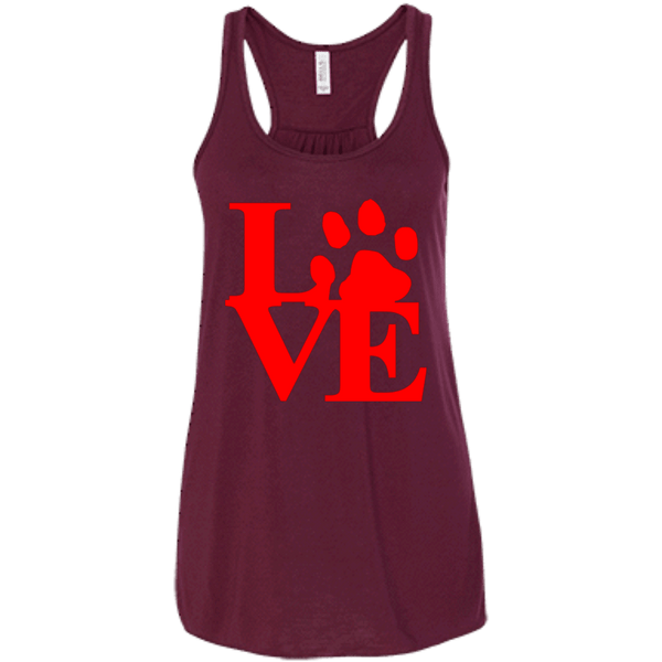 Love Red - B8800 Bella + Canvas Flowy Racerback Tank Maroon X-Small - Little Pit Shop