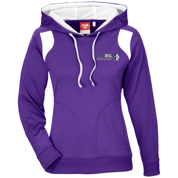 End BSL Embroidered - TT30W Team 365 Ladies' Colorblock Poly Hoodie By Little Pit Shop Purple/White X-Small - Little Pit Shop