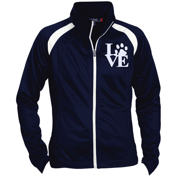 Love Paw Wht Embroidered - LST90 Sport-Tek Ladies' Raglan Sleeve Warmup Jacket True Navy/White X-Small - Little Pit Shop