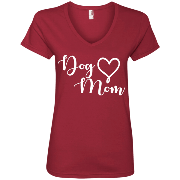 Dog Mom White Text - 88VL Anvil Ladies' V-Neck T-Shirt Independence Red Small - Little Pit Shop