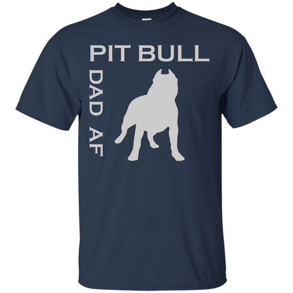 Pit Bull Dad AF - G200 Gildan Ultra Cotton T-Shirt Navy Small - Little Pit Shop