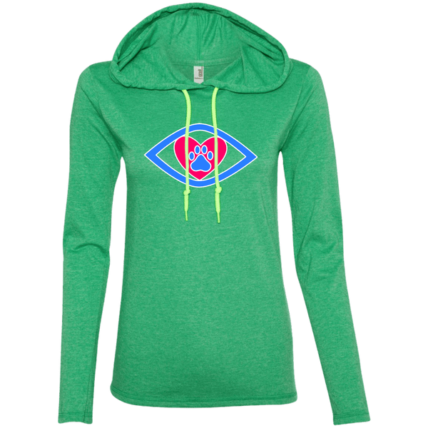 Eye-Heart-Paw - 887L Anvil Ladies' LS T-Shirt Hoodie Heather Green/Neon Yellow Small - Little Pit Shop