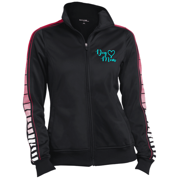 Dog Mom Teal Prnt - LST93 Sport-Tek Ladies' Dot Print Warm Up Jacket Black/True REd X-Small - Little Pit Shop