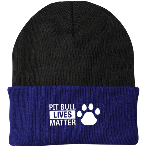 Pit Bull Lives Matter - CP90 Port Authority Knit Cap by Little Pit Shop Black/Athletic Royal One Size - Little Pit Shop