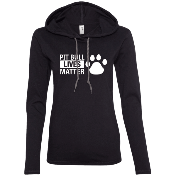 Pit Bull Lives Matter - 887L Anvil Ladies' LS T-Shirt Hoodie Black/Dark Grey Small - Little Pit Shop