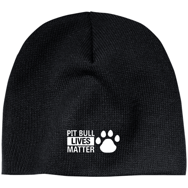 Pit Bull Lives Matter- CP91 100% Acrylic Beanie by Little Pit Shop Black One Size - Little Pit Shop