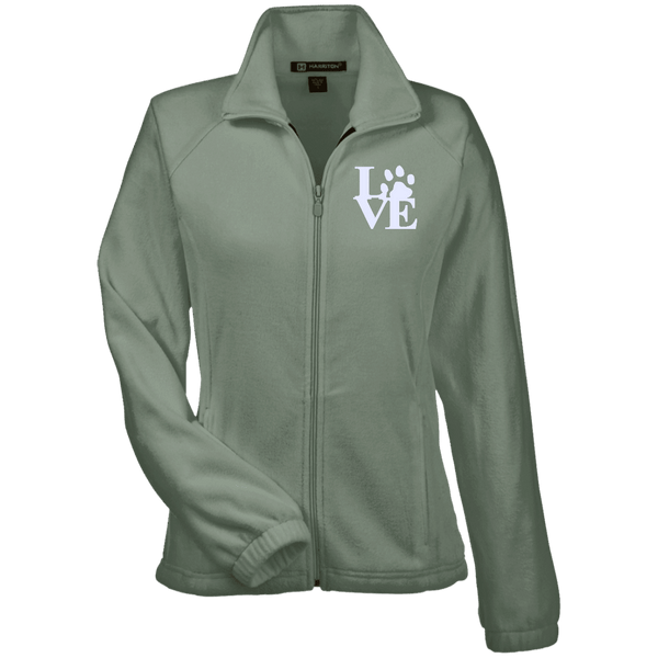 Love Paw Wht Embroidered - M990W Harriton Women's Fleece Jacket Dill X-Small - Little Pit Shop
