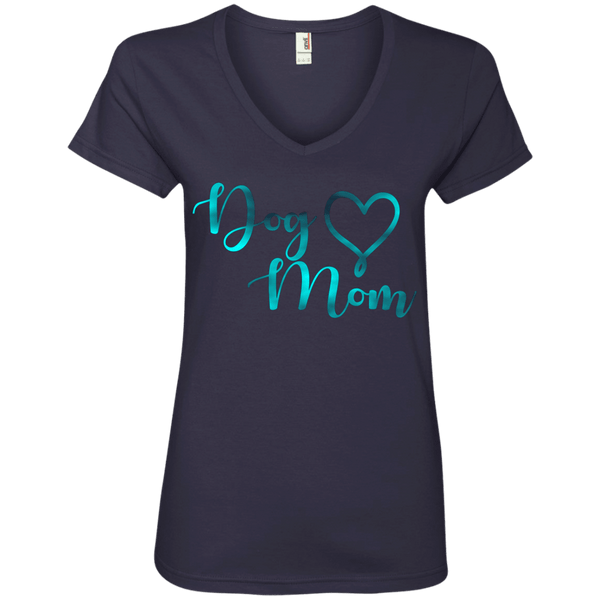 Dog Mom Teal Noise - 88VL Anvil Ladies' V-Neck T-Shirt Navy Small - Little Pit Shop