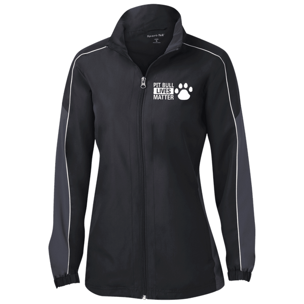 Pit Bull Lives Matter - LST61 Sport-Tek Ladies' Piped Colorblock Windbreaker by Little Pit Shop Black/Graphite/White X-Small - Little Pit Shop