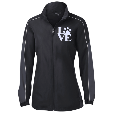 Love Paw - LST61 Sport-Tek Ladies' Piped Colorblock Windbreaker Black/Graphite/White X-Small - Little Pit Shop