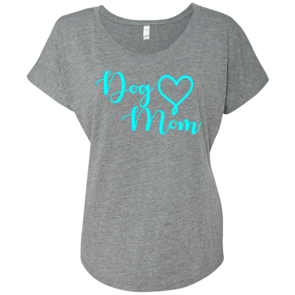 Dog Mom Teal Text - NL6760 Next Level Ladies' Triblend Dolman Sleeve Premium Heather X-Small - Little Pit Shop