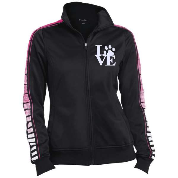 Love Paw Wht Embroidered - LST93 Sport-Tek Ladies' Dot Print Warm Up Jacket Black/Pink Raspberry X-Small - Little Pit Shop