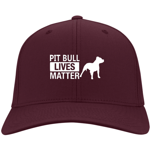 Pit Bull Lives Matter- CP80 Port & Co. Twill Cap By Little Pit Shop Maroon One Size - Little Pit Shop