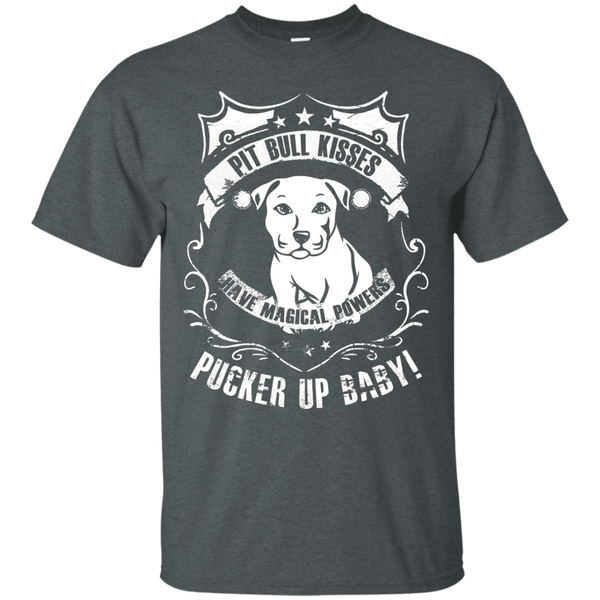 Pit Bull Kisses - G200 Gildan Ultra Cotton T-Shirt by Little Pit Shop Dark Heather Small - Little Pit Shop