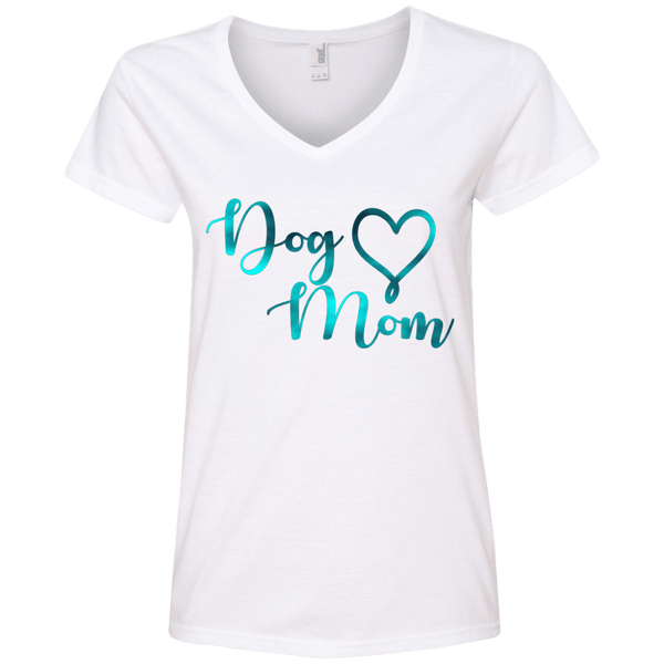 Dog Mom Teal Noise - 88VL Anvil Ladies' V-Neck T-Shirt White Small - Little Pit Shop