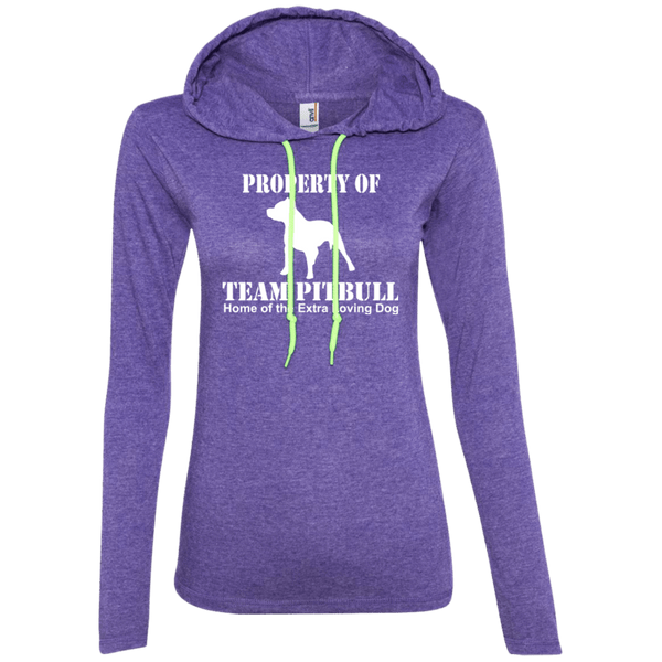 Team Pit Bull - 887L Anvil Ladies' LS T-Shirt Hoodie Heather Purple/Neon Yellow Small - Little Pit Shop