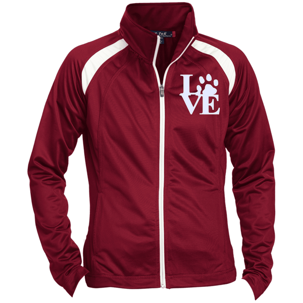 Love Paw Wht Embroidered - LST90 Sport-Tek Ladies' Raglan Sleeve Warmup Jacket Maroon/White X-Small - Little Pit Shop