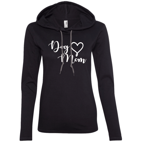 Dog Mom White Text - 887L Anvil Ladies' LS T-Shirt Hoodie Black/Dark Grey Small - Little Pit Shop