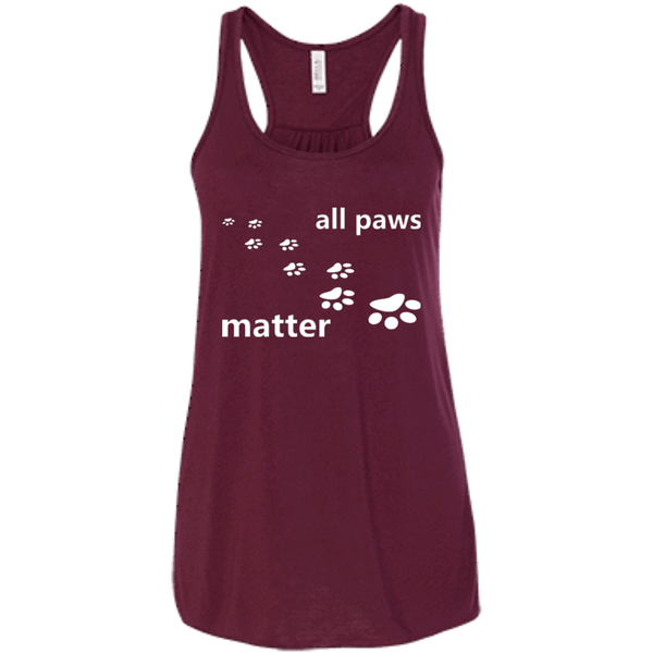 All Paws Matter - B8800 Bella + Canvas Flowy Racerback Tank Maroon X-Small - Little Pit Shop