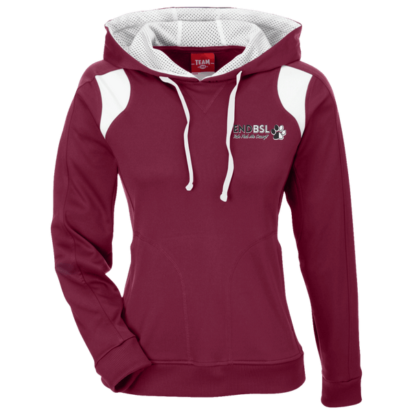 End BSL Embroidered - TT30W Team 365 Ladies' Colorblock Poly Hoodie By Little Pit Shop Maroon/White X-Small - Little Pit Shop
