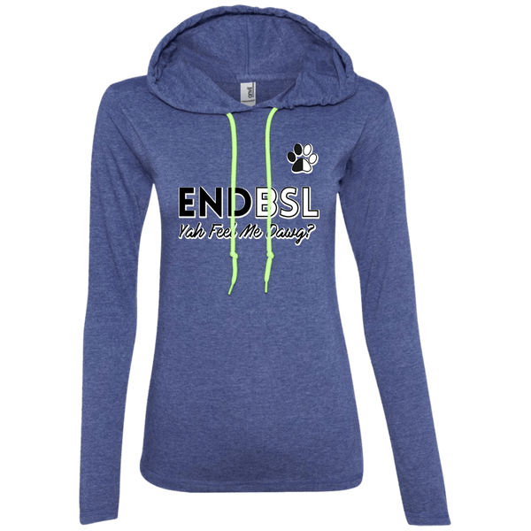 End BSL - 887L Anvil Ladies' LS T-Shirt Hoodie Heather Blue/Neon Yellow Small - Little Pit Shop