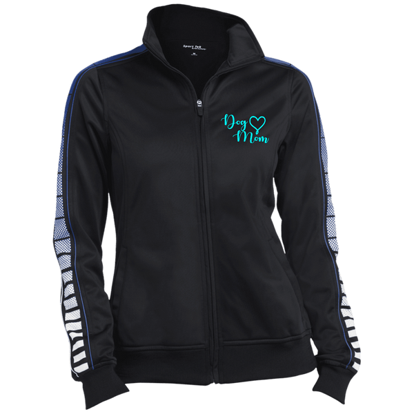 Dog Mom Teal Prnt - LST93 Sport-Tek Ladies' Dot Print Warm Up Jacket Black/True Royal X-Small - Little Pit Shop