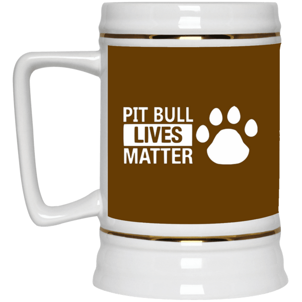 Pit Bull Lives Matter w/ Paw - 22217 Beer Stein 22oz. Brown One Size - Little Pit Shop