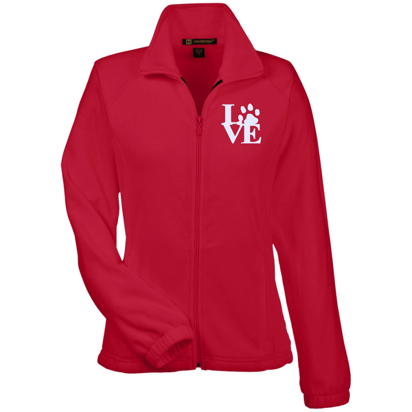 Love Paw Wht Embroidered - M990W Harriton Women's Fleece Jacket Red X-Small - Little Pit Shop