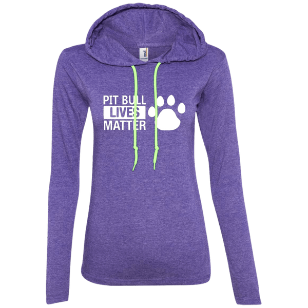 Pit Bull Lives Matter - 887L Anvil Ladies' LS T-Shirt Hoodie Heather Purple/Neon Yellow Small - Little Pit Shop