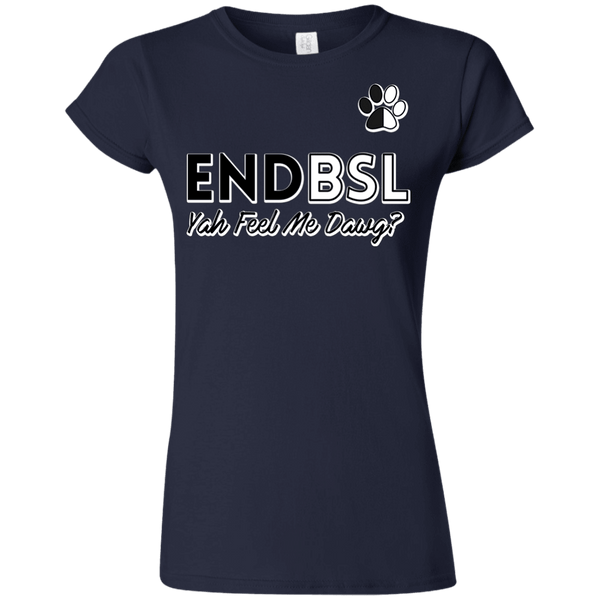 End BSL - G640L Gildan Softstyle Ladies' T-Shirt Navy Small - Little Pit Shop