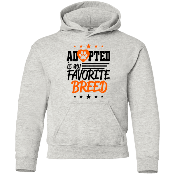 Adopted is My Favorite Breed - G185B Gildan Youth Pullover Hoodie Ash YS - Little Pit Shop