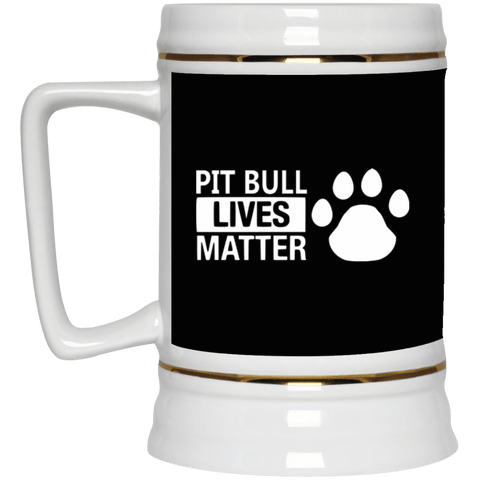 Pit Bull Lives Matter w/ Paw - 22217 Beer Stein 22oz. Black One Size - Little Pit Shop