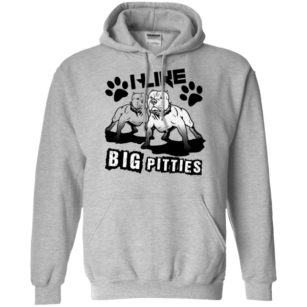 I Like Big Pitties Drk - G185 Gildan Pullover Hoodie 8 oz. Sport Grey Small - Little Pit Shop