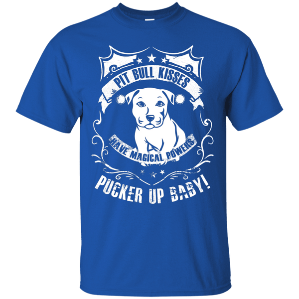 Pit Bull Kisses - G200 Gildan Ultra Cotton T-Shirt by Little Pit Shop Royal Small - Little Pit Shop