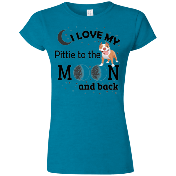 I Love My Pittie - G640L Gildan Softstyle Ladies' T-Shirt Light Antique Sapphire Small - Little Pit Shop