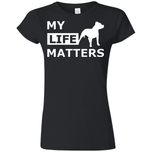 My Life Matters - G640L Gildan Softstyle Ladies' T-Shirt Dark Black Small - Little Pit Shop