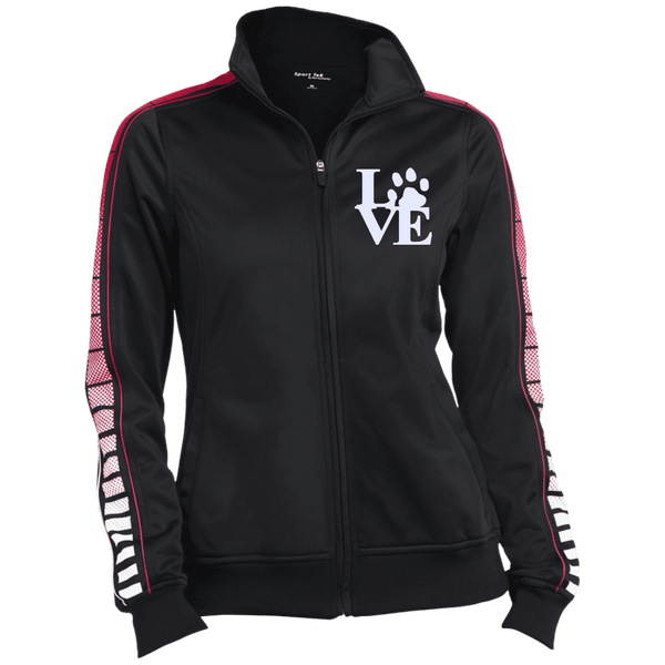 Love Paw Wht Embroidered - LST93 Sport-Tek Ladies' Dot Print Warm Up Jacket Black/True REd X-Small - Little Pit Shop