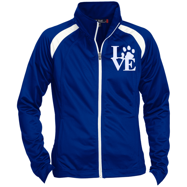 Love Paw Wht Embroidered - LST90 Sport-Tek Ladies' Raglan Sleeve Warmup Jacket True Royal/White X-Small - Little Pit Shop