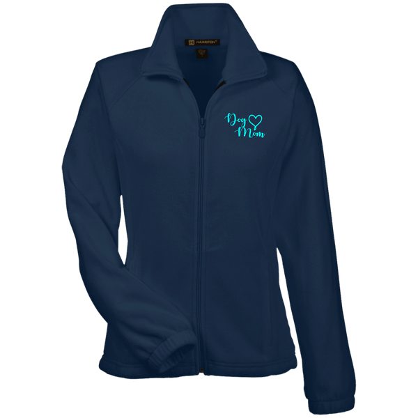 Dog Mom Teal Prnt - M990W Harriton Women's Fleece Jacket Navy X-Small - Little Pit Shop
